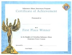 substance abuse first place certificate knights of columbus