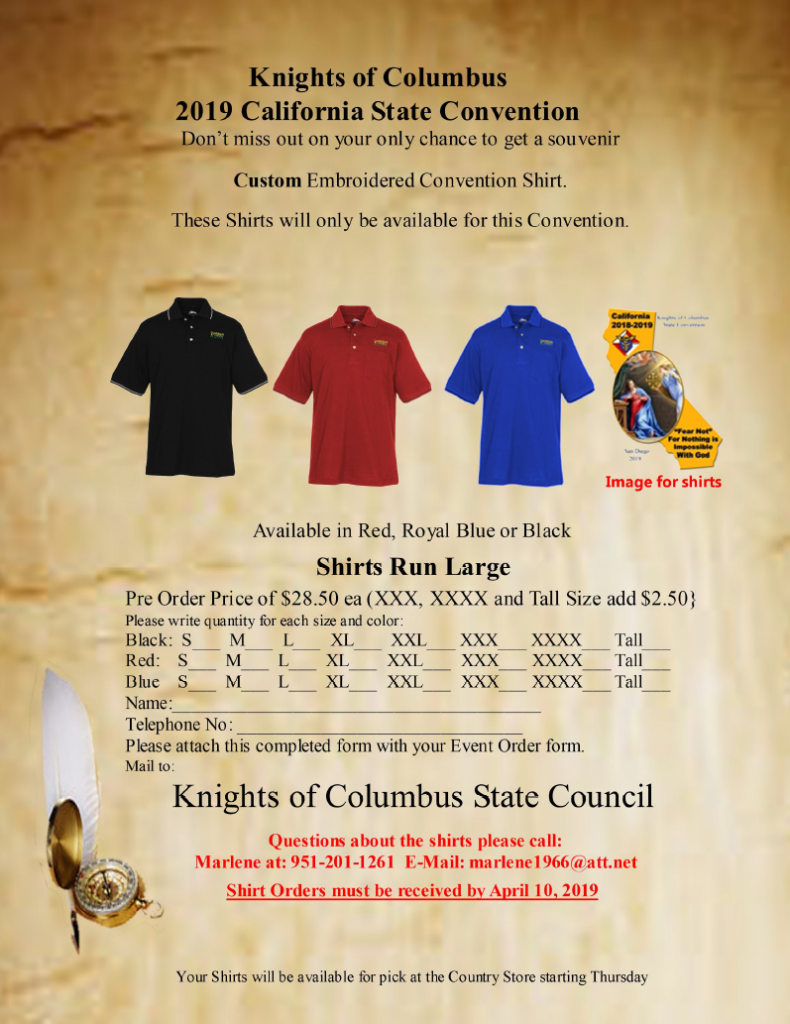 2019 State Convention Souvenir Shirt Xxxl Xxxxl Knights Of