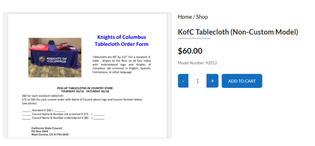 Standard KofC Table Cloth