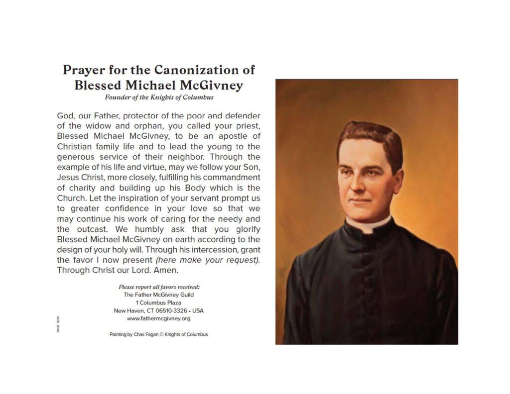Fr. McGivney Prayer Card /Virtual Wheelchair Drive